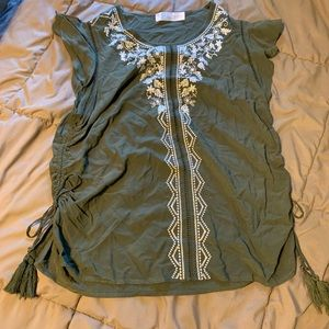 Time & tru sleeveless green embroidered top  large